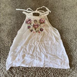 White halter style embroidered tank